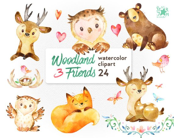 Woodland clipart watercolor. Friends animals fox forest