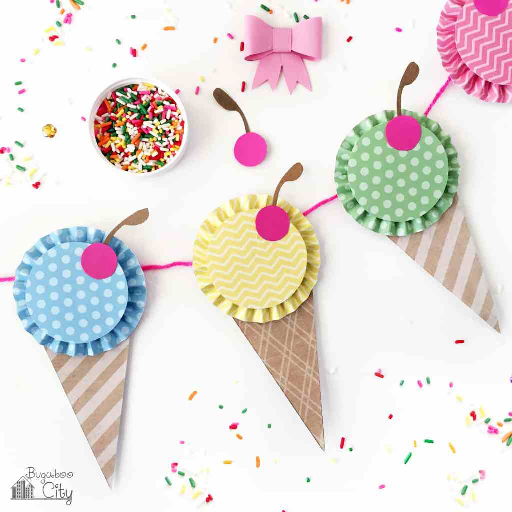 Banners clipart ice cream. Paper banner bugaboocity diy