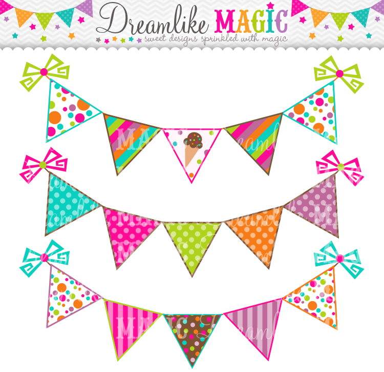 Set sweeties buntings clip. Banners clipart ice cream
