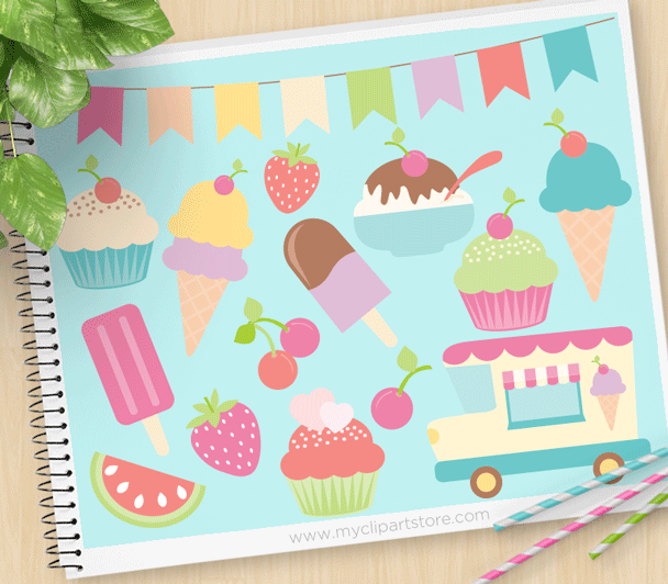 Banners clipart ice cream. Truck premium vector by