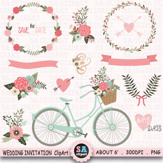 Wedding clip art floral. Banners clipart invitation