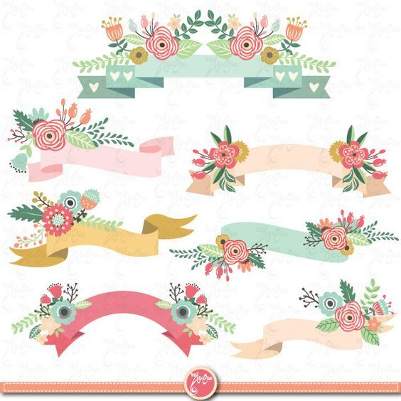 Banners clipart invitation. Floral pack banner clip