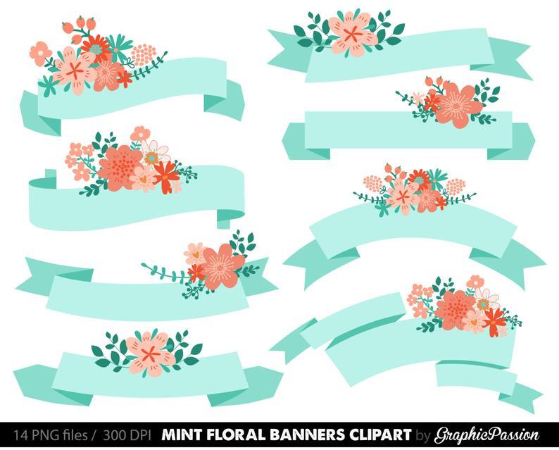 Digital floral mint wedding. Banners clipart invitation
