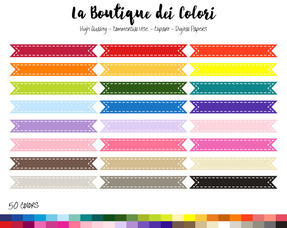 rainbow stitched ribbon. Banners clipart label