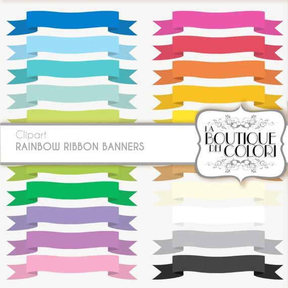Banners clipart label. Rainbow ribbon cliparts tags