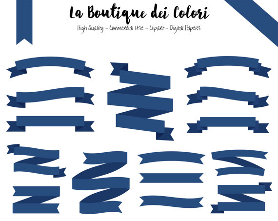 Navy blue ribbon cliparts. Banners clipart label