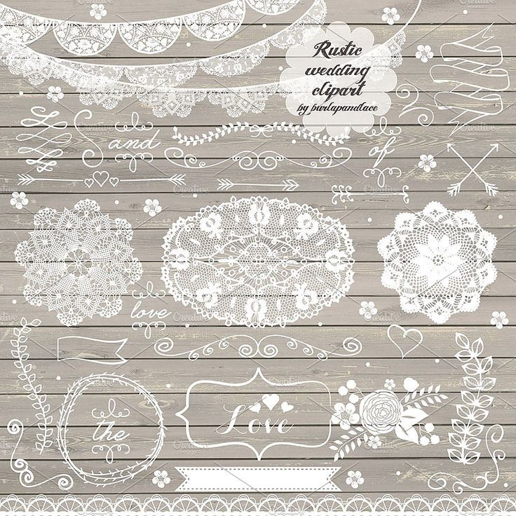 Banners clipart lace. Rustic wedding hand drawn