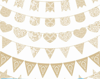 Bunting etsy natural ecru. Banners clipart lace