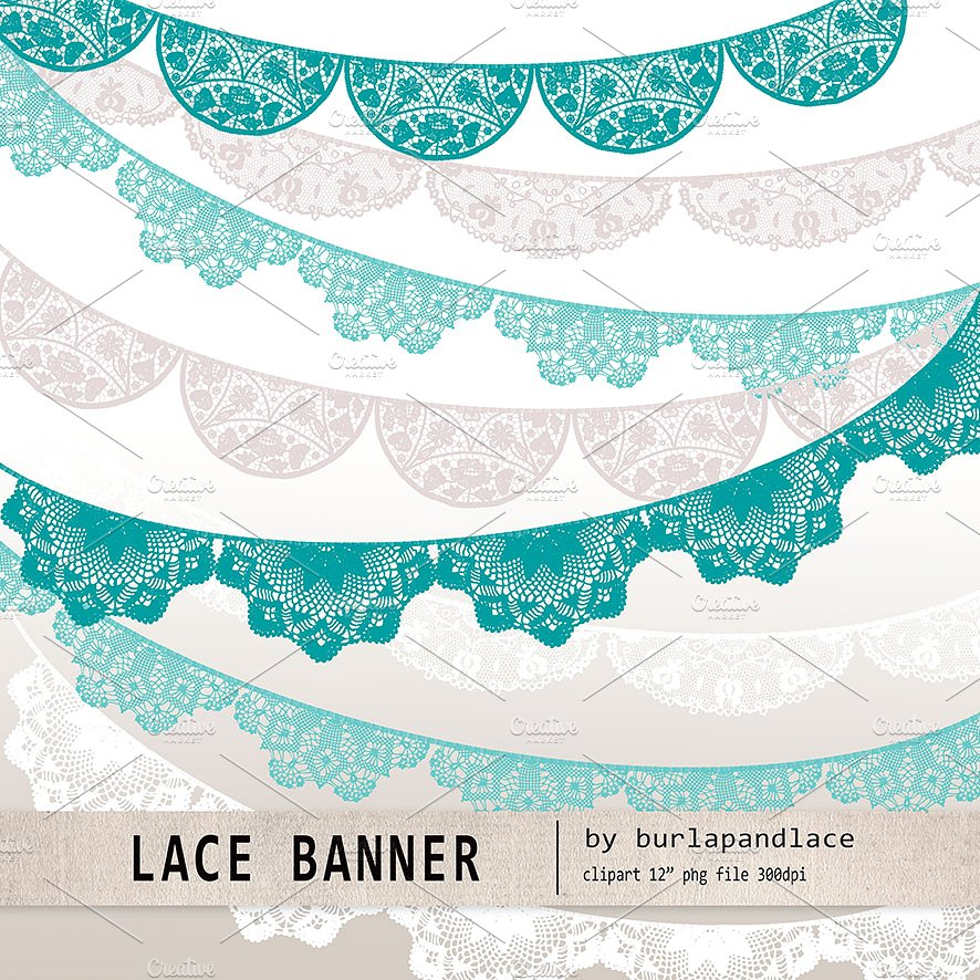 Banner clipart lace. Teal beige white illustrations