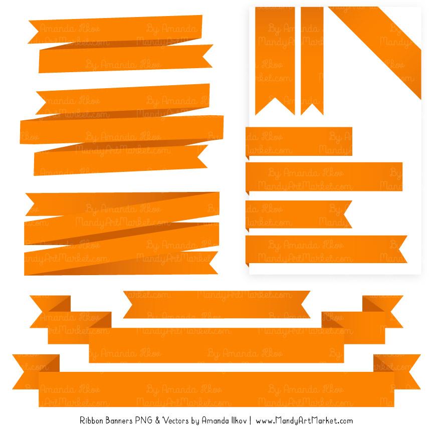 Orange banner . Banners clipart ribbon