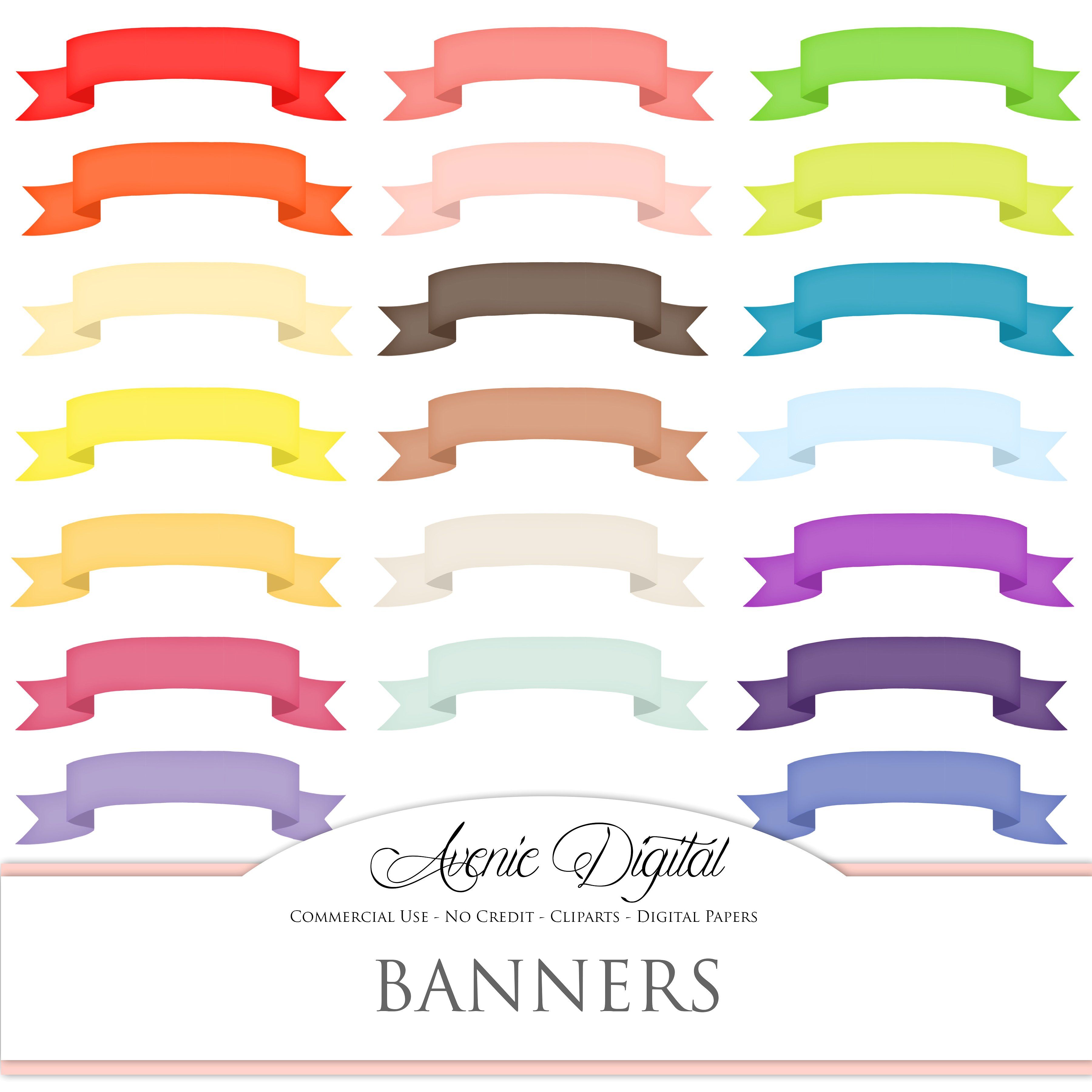 Banners clipart ribbon. Colorful banner illustrations creative
