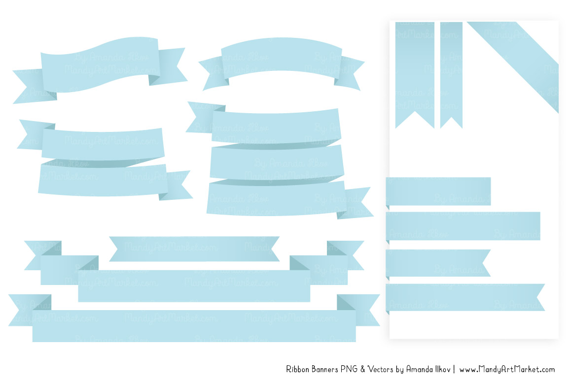 Classic in soft blue. Banner clipart ribbon