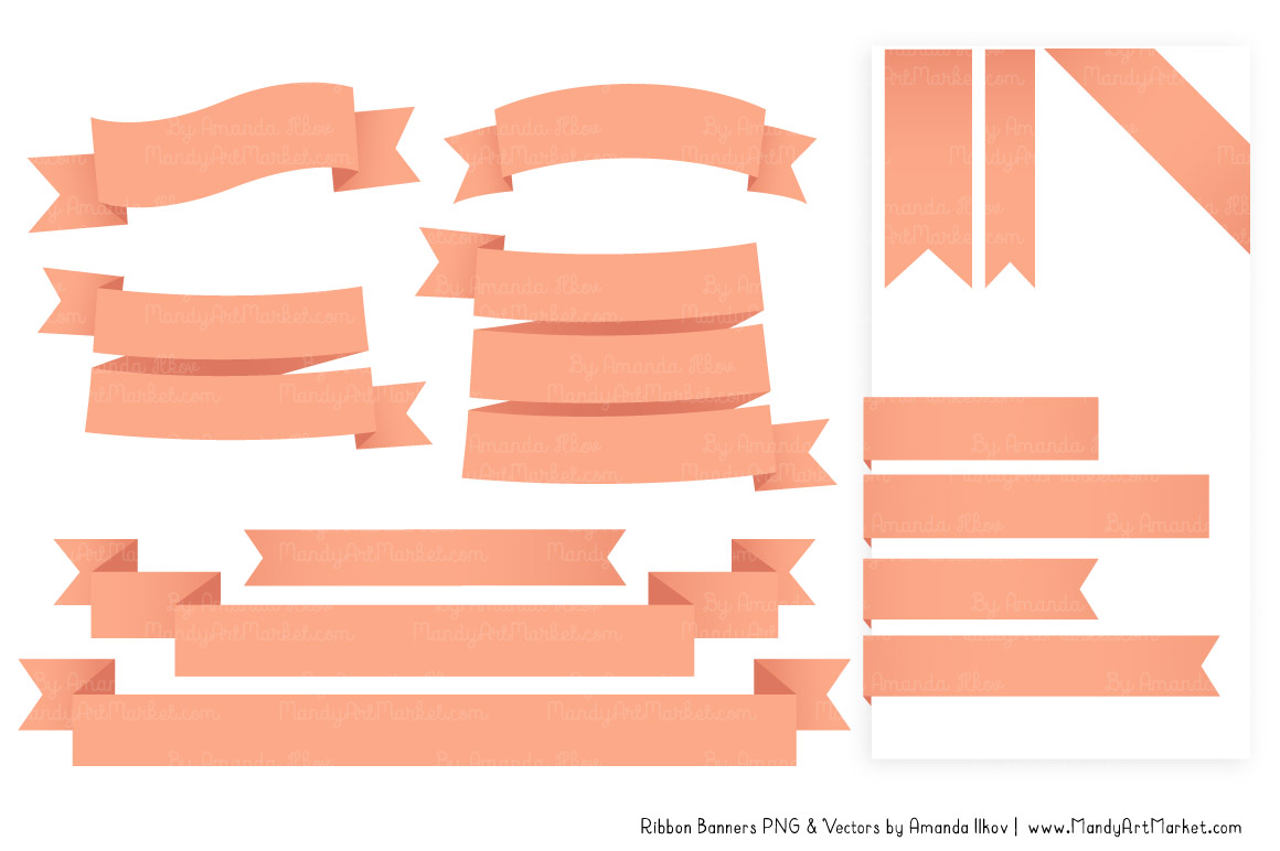 Classic banner in peach. Banners clipart ribbon