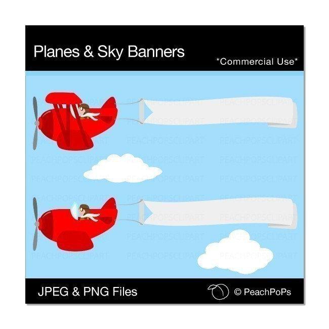 Banners clipart sky. Cute plane clip art
