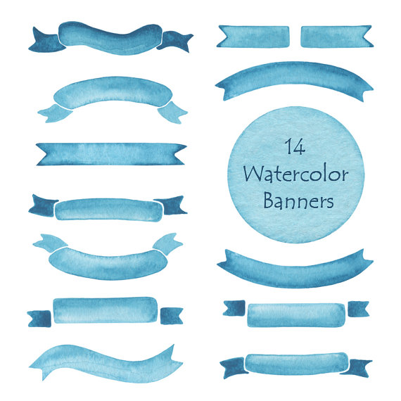 Banners clipart sky. Watercolor ribbons clip art