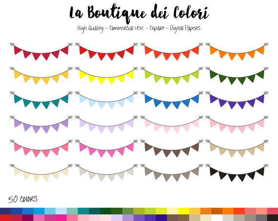 Banner clipart solid.  rainbow color bunting