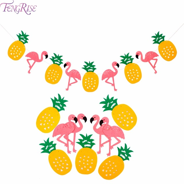 Fengrise flamingo pineapple banner. Banners clipart tropical