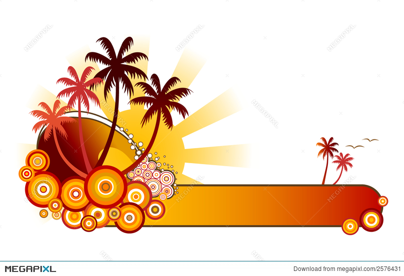 Beach banner red illustration. Banners clipart tropical