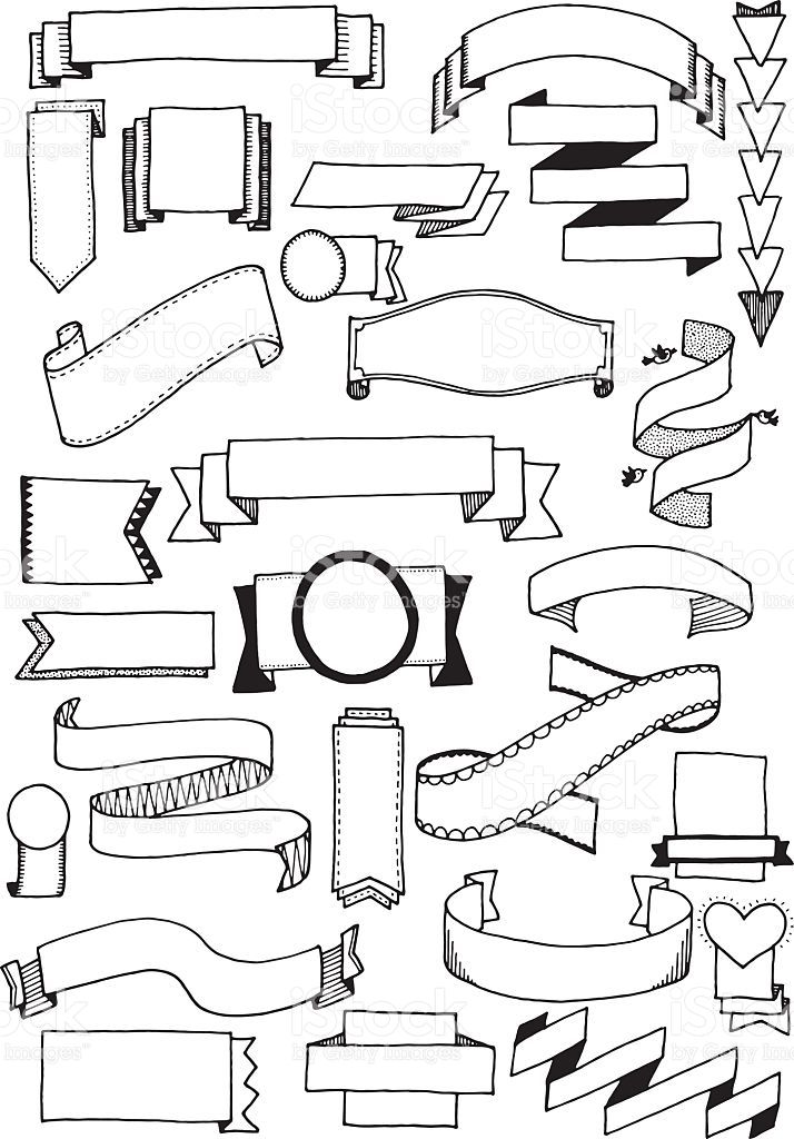 Banners clipart vector. Hand drawn doodle quirky