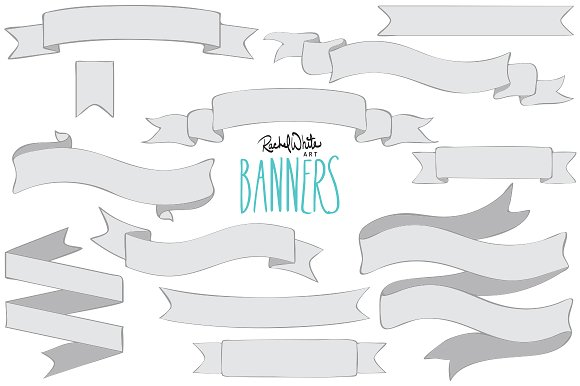 Png objects creative market. Banners clipart vector