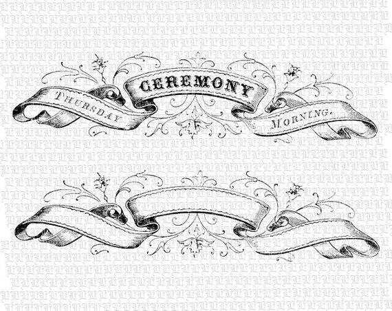 Banners clipart victorian. Digital ribbon heading ceremony