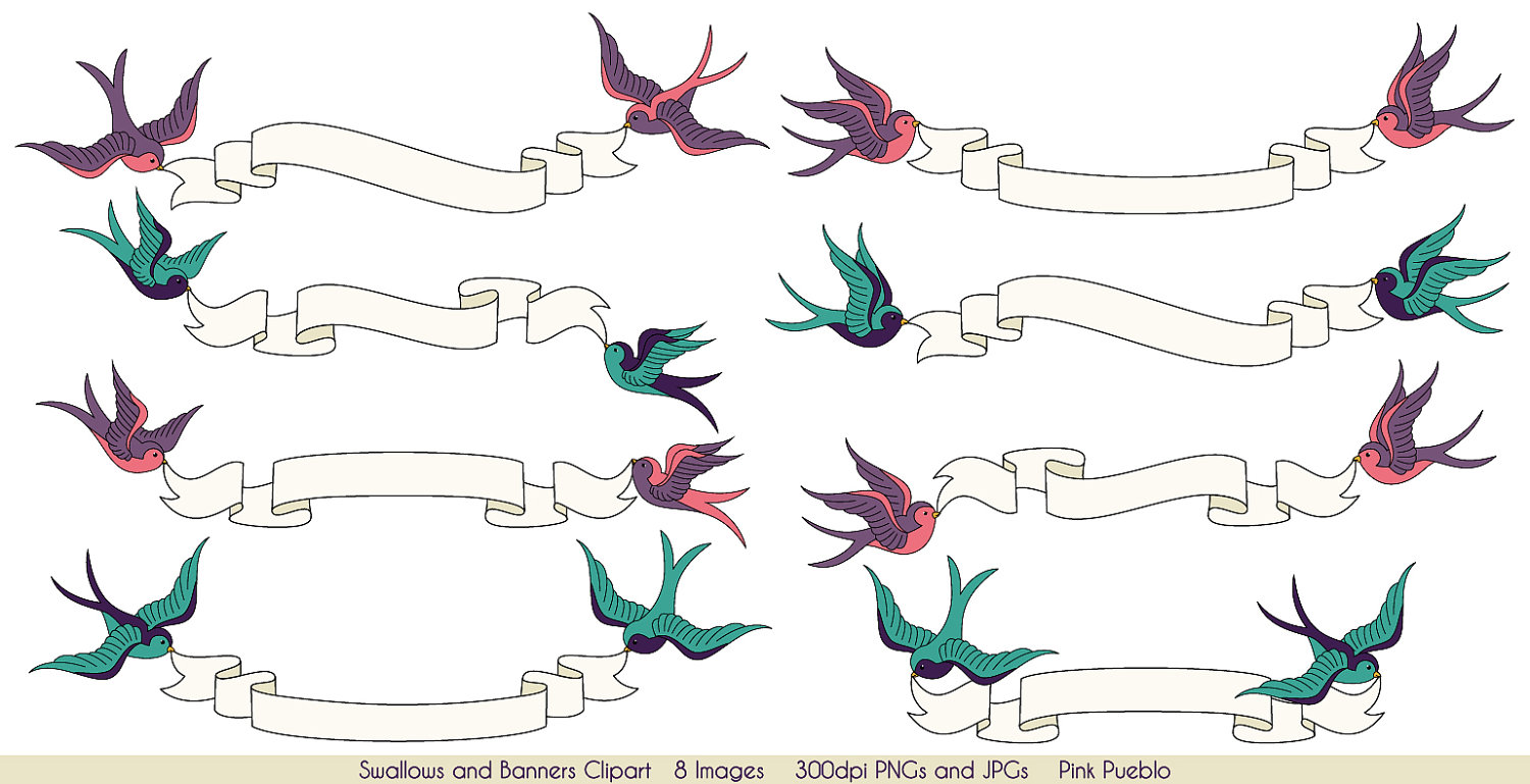 Banners clipart vintage. Swallows and clip art