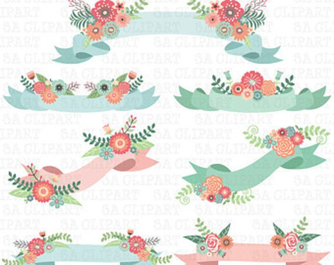 Banners clipart wedding. Floral banner clip art