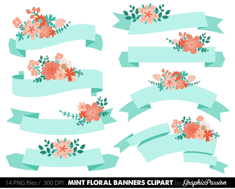 Digital floral mint clip. Banners clipart wedding