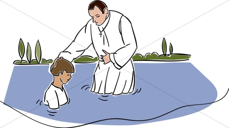 In the river. Baptism clipart