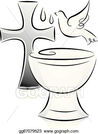 Baptism clipart. Eps illustration black and