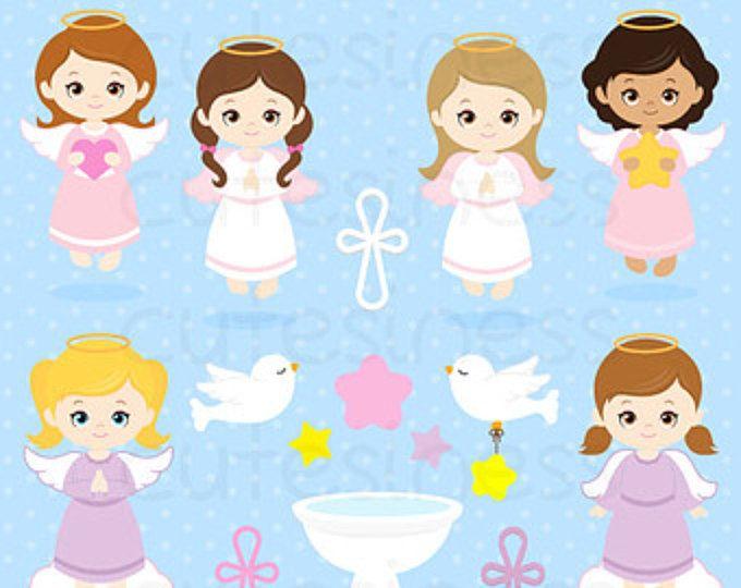 Digital girl clip art. Baptism clipart angel