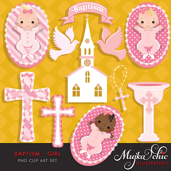 With cute babies church. Baptism clipart baby girl