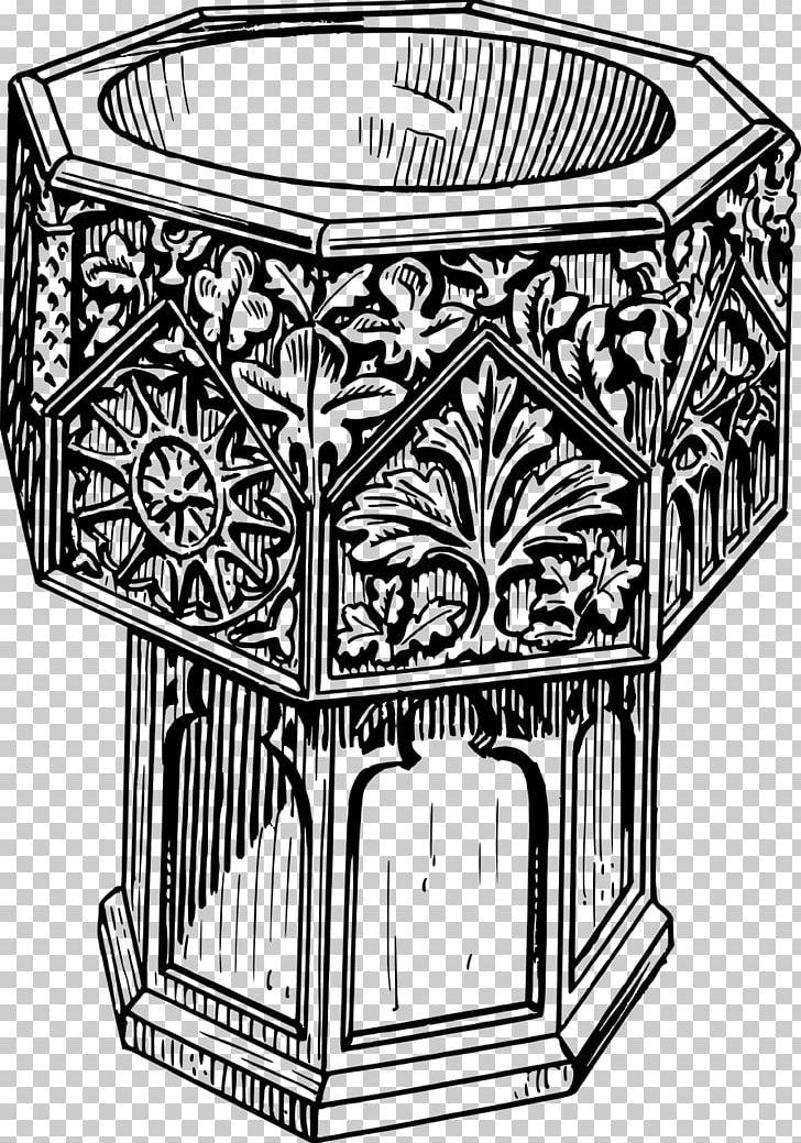 Png black . Baptism clipart baptismal font