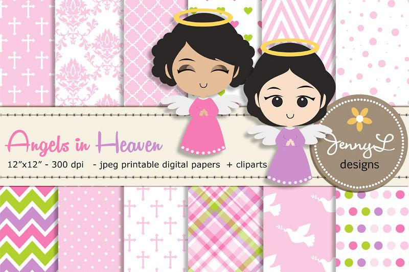 Baptism clipart cartoon. Angel digital papers and