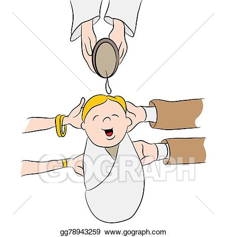 Baptism clipart cartoon. Vector child being baptized