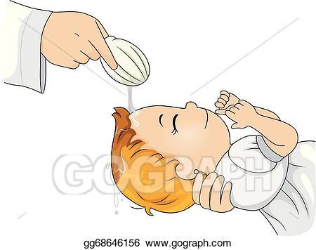 Eps vector stock illustration. Baptism clipart catholic baptism