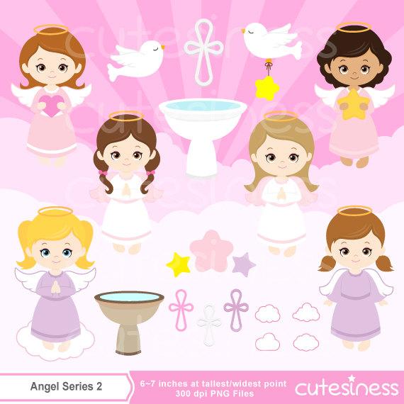 Angel digital girl like. Baptism clipart cute