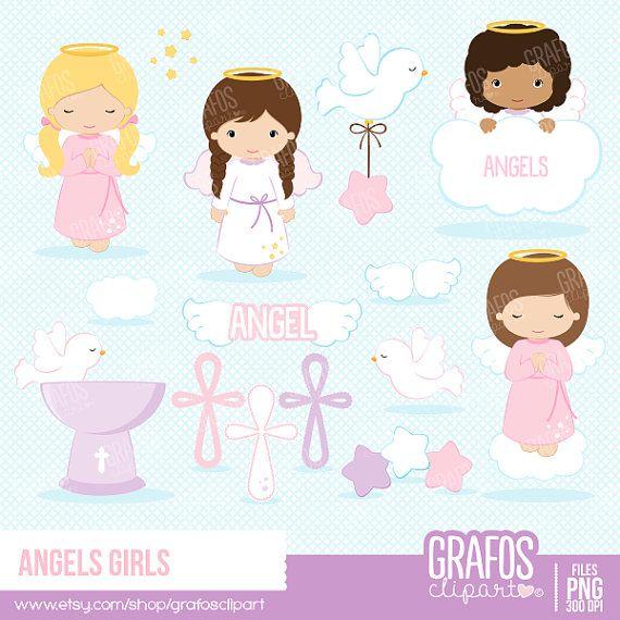 Angels girls digital set. Baptism clipart cute