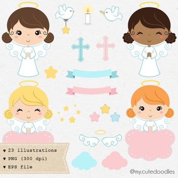 Angel invitation girl baby. Baptism clipart cute