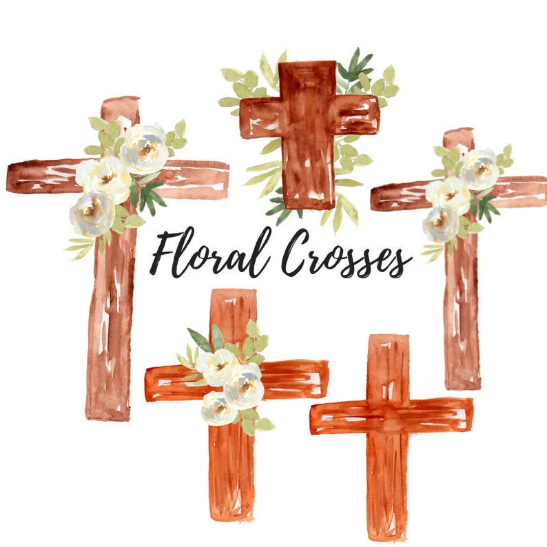 Watercolor cross wooden graphics. Baptism clipart easter