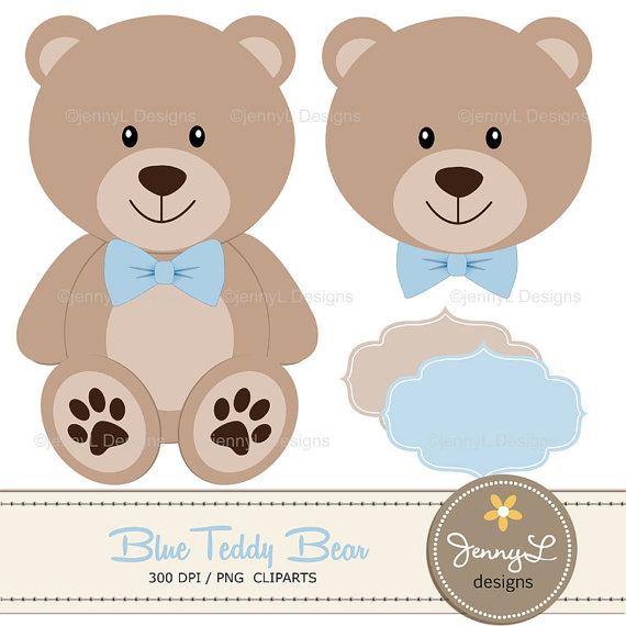 Blue teddy digital papers. Bear clipart boy