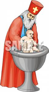 An orthodox baptizing a. Baptism clipart priest