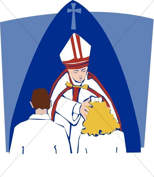 Catholic image. Baptism clipart priest