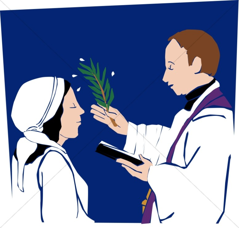 Baptism clipart priest. Ash wednesday blessing image