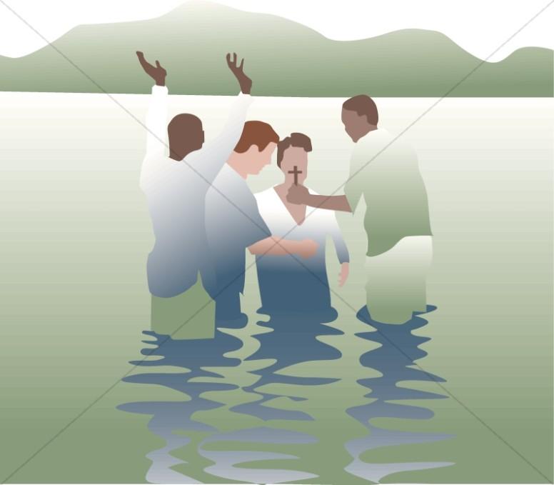 Simple scene green. Baptism clipart river