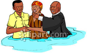 Black woman being baptized. Baptism clipart river
