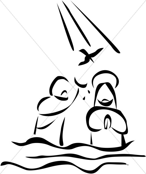 Baptism clipart river. Jesus is baptized in