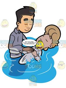 Baptism clipart river. A man being baptized