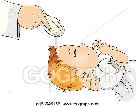 Eps vector stock illustration. Catholic clipart baptism