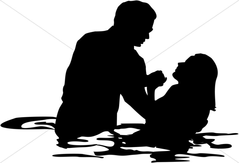 Adult female full immersion. Baptism clipart silhouette